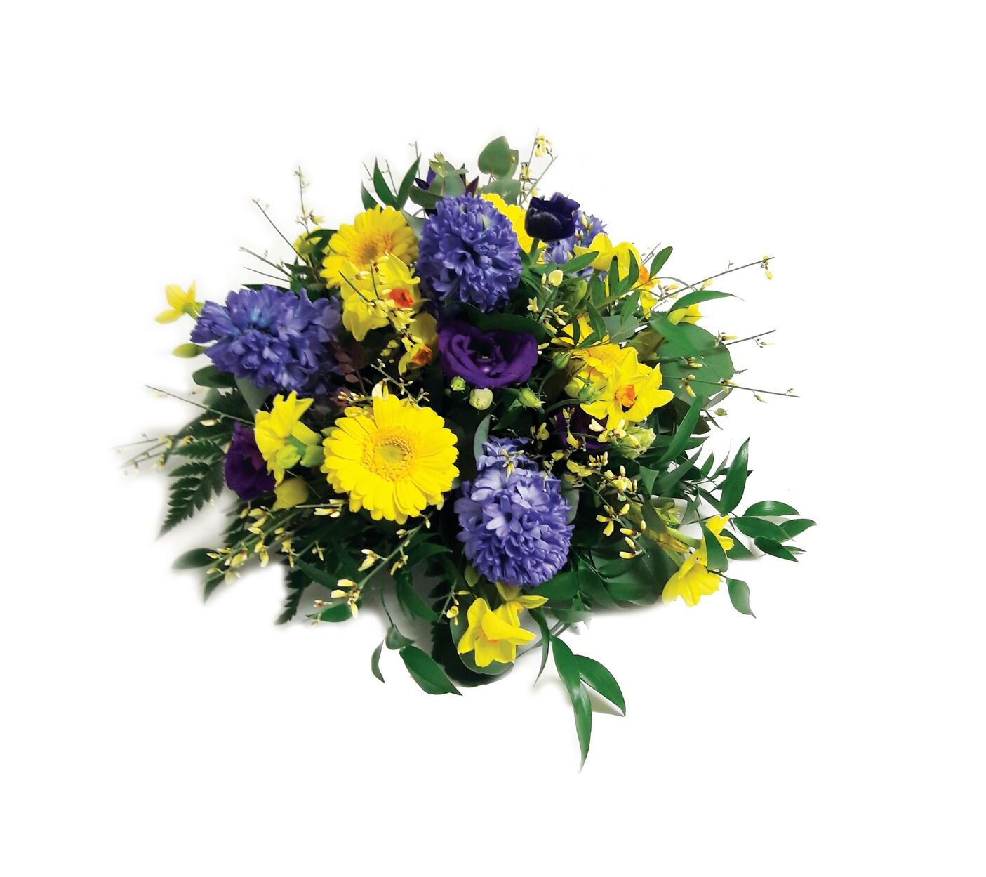 Funeral Yellow And Purple Posy Colonnade Florist